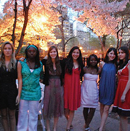 From left to right group members, first two students are un-named volunteers, then Alida Borgna, Nora Kostow, Sophie Golomb, D'meca Homer, Marielle Torres, Tanya Singh, missing from the photograph are Mardet Homans and Community Service Coordinator Rachel Gomez