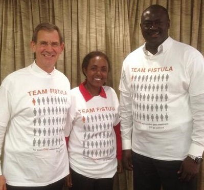 From left to right: Denis Robson of J&J with Fistula Foundation partner surgeons Dr. Mulu Muleta and Dr. Serigne Gueye