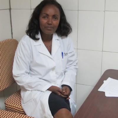 Dr. Mulu Muleta sits in her office at the Gondar University Teaching Hospital in Ethiopia.