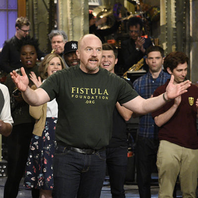 """SATURDAY NIGHT LIVE -- """"Louis C.K."""" Episode 1721 -- Pictured: (l-r) Musical guest The Chainsmokers and host Louis C.K. during """"Goodnights & Credits"""" on April 8, 2017 -- (Photo by: Will Heath/NBC)"""