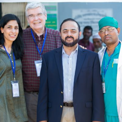 Left to right: Fistula Foundation's Ahana Gunderson and Dr. Steve Arrowsmith, with HOPE Hospital's Dr. Iftikher Mahmood and Dr. Nrinmoy Biswas