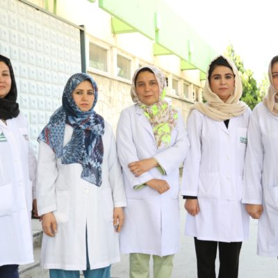 CURE International's all-female fistula team: (from left to right) Dr. Homa, Dr. Muzhda, Dr. Ramin, Nurse Shekiba, and lead surgeon Dr. Sofia Hail.