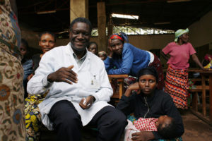 Dr. Mukwege with female patients in the Democratic Republic of Congo
